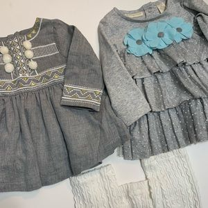 2 Tunics and a pair of leggings bundle Size 3-6 mo